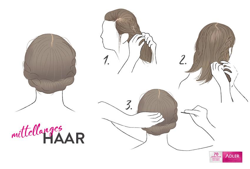 Flechtfrisur für mittellanges Haar
